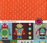 Cotton and Minky Baby Blanket Kit ROBOT fabric and BRIGHT