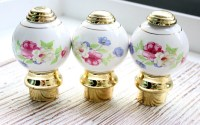 Ceramic Finials Bed Posts / Porcelain Door Knobs / Floral Door