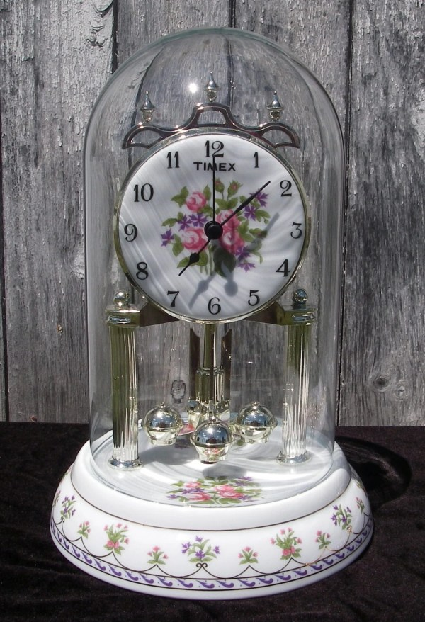 Vintage Clock Timex Porcelain Glass Dome Anniversary