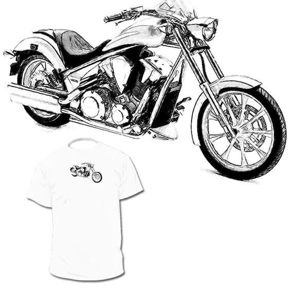 Honda Fury Drawing T shirt Gold Wing Valkyrie by Drawinx