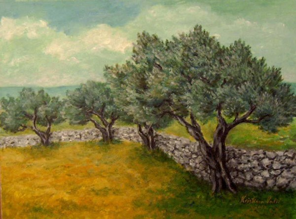 landscape painting olive trees