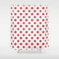 Shower curtain red ikat polka dot red and white housewarming