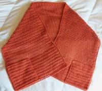Crochet Shawl with Pockets 16 x 60 Pumpkin Lacy