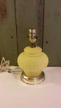 Vintage Yellow Hobnail Lamp Small Yellow Lamp