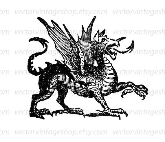 Dragon Clip Art, Vector Art, Instant Download, Medieval
