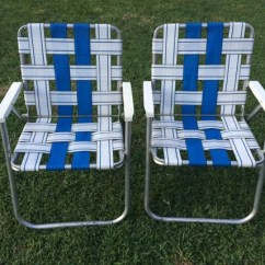 Aluminum Webbed Lawn Chairs Comfy Bar Vintage Set Of 2 Two Sunbeam Patio Folding