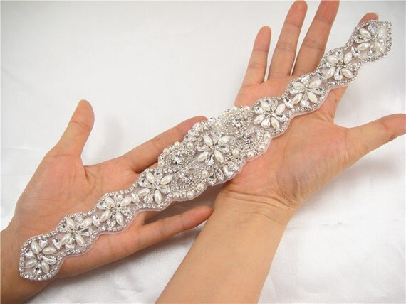 Rhinestone appliquecrystal applique for Bridal Sash by