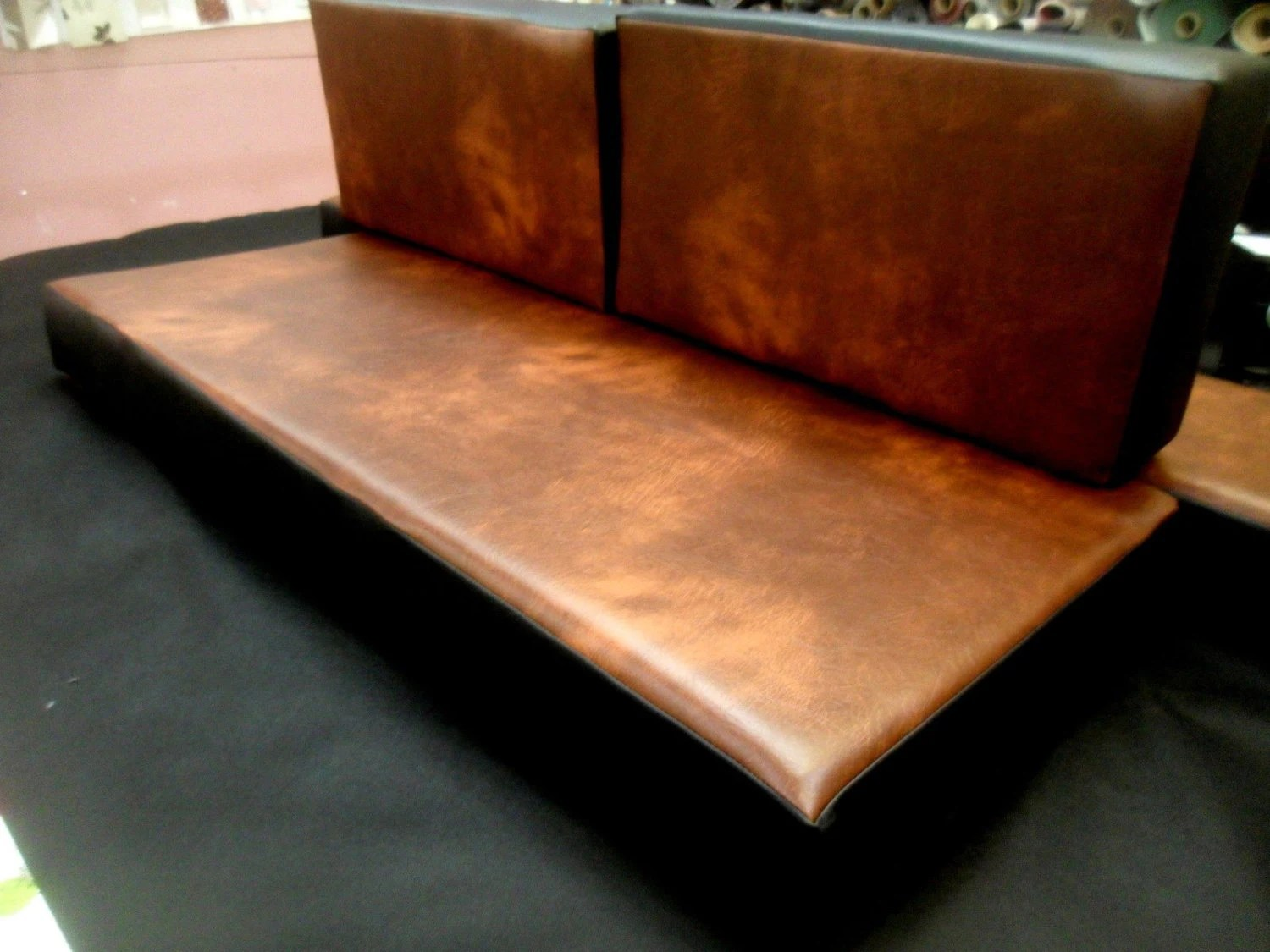 faux leather sofa replacement covers two sofas into sectional bench seat cushion and back 55 x 25 5