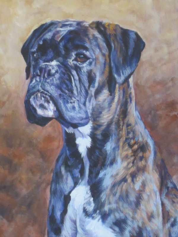 Brindle Boxer Dog Art Canvas Print Of La Shepard Painting 8x10