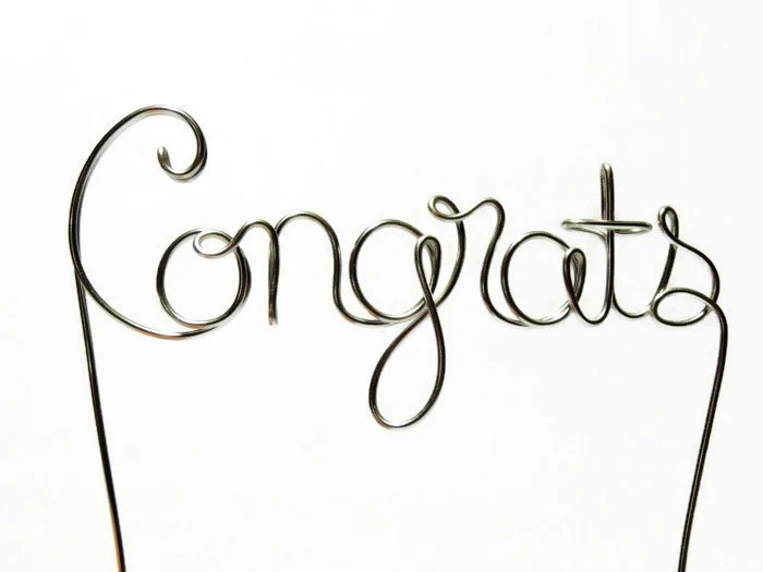 Congrats Wire Cake Topper Silver Gold Brown Red Black