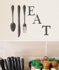 EAT Kitchen Wall Decal Utensil Kitchen Decor Wall Art