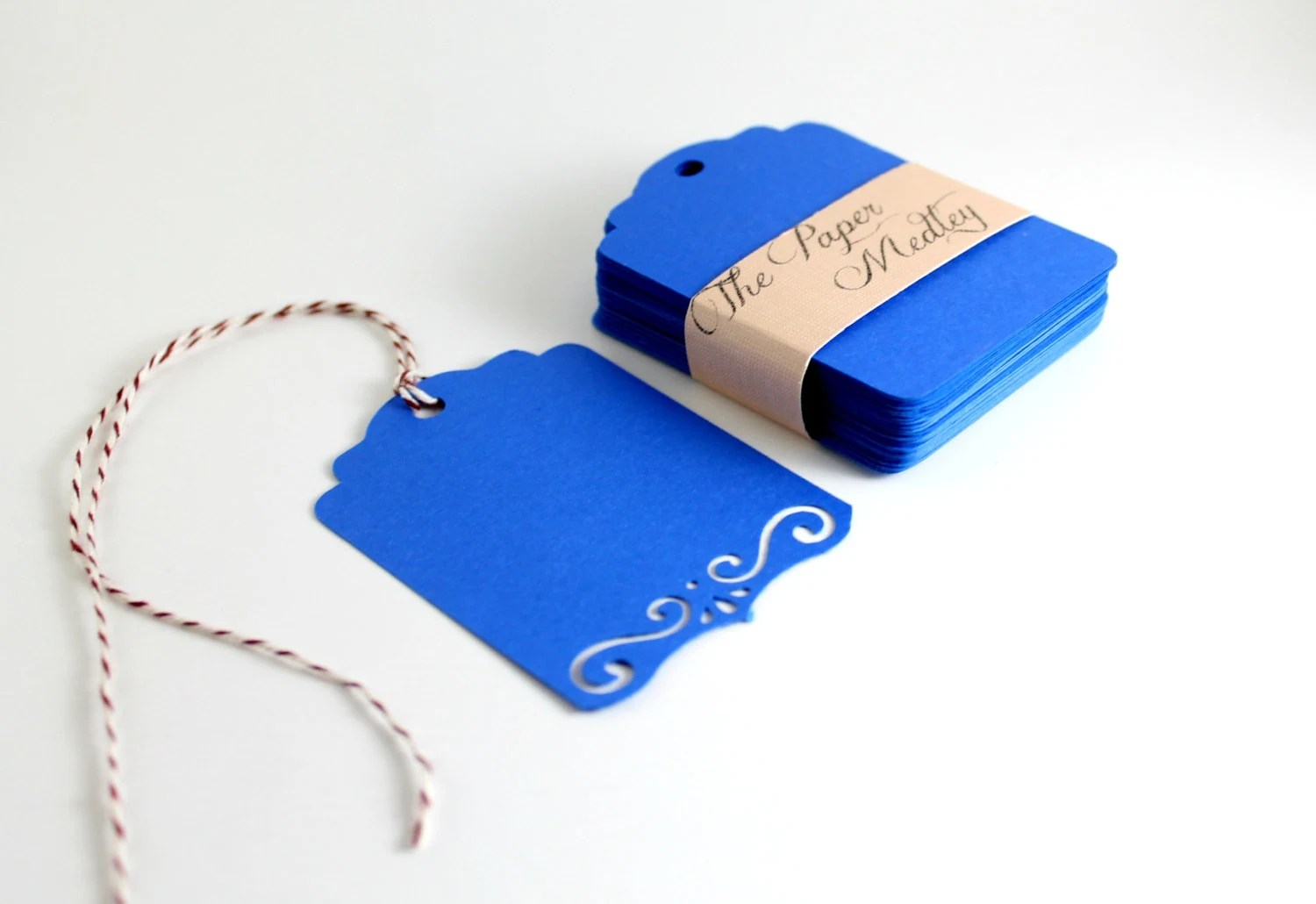 Dark Blue Wedding Tags, Blank Tags with Scroll Border , Favor Tags, Gift Tags Set of 50 - ThePaperMedley