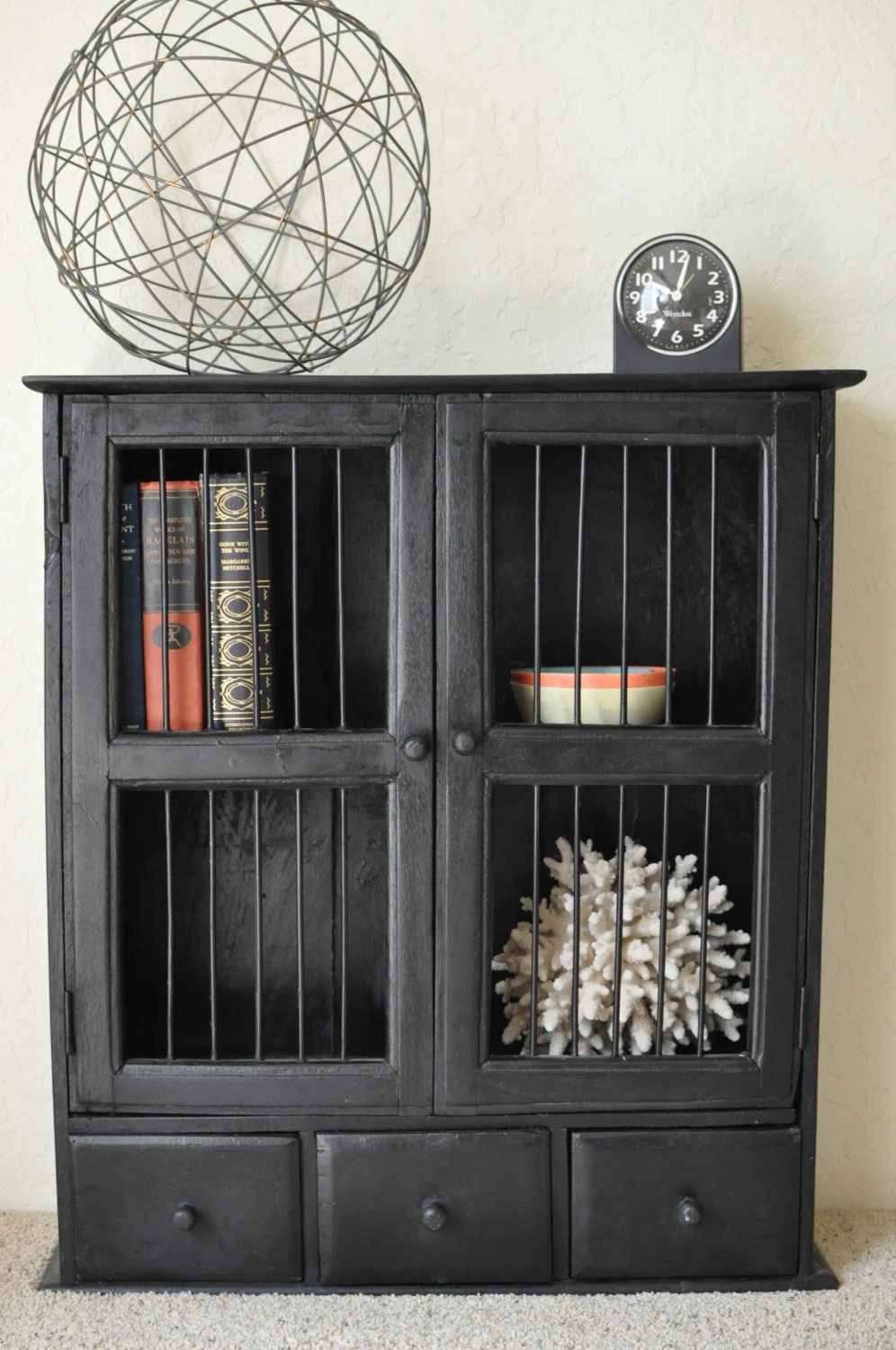 Vintage Rustic Wood Display CabinetWood Wall ShelfShabby