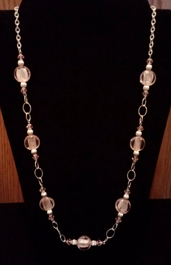 Handmade Beaded Necklace with Pink Silver Foil and Silver