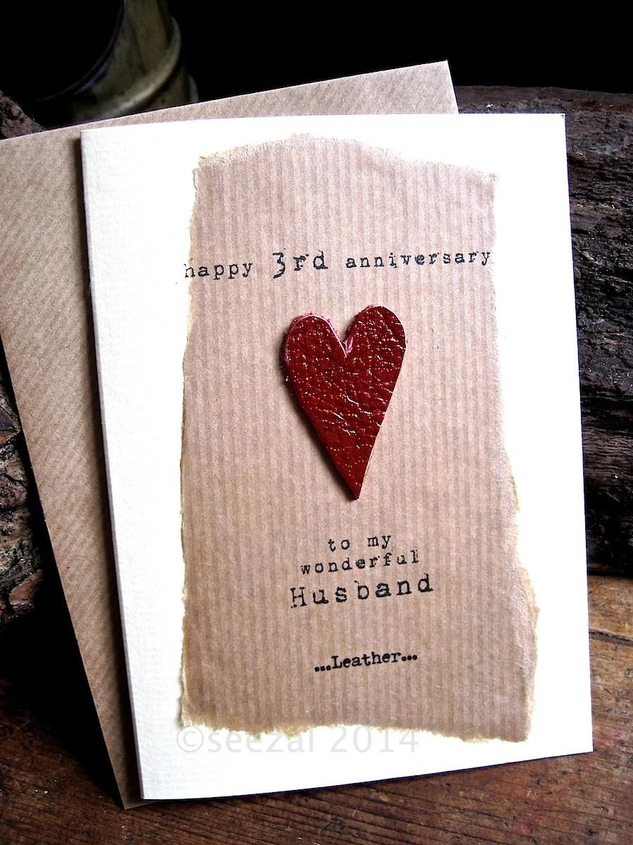 3rd Wedding Anniversary Card LEATHER Husband by ArtBySeezal