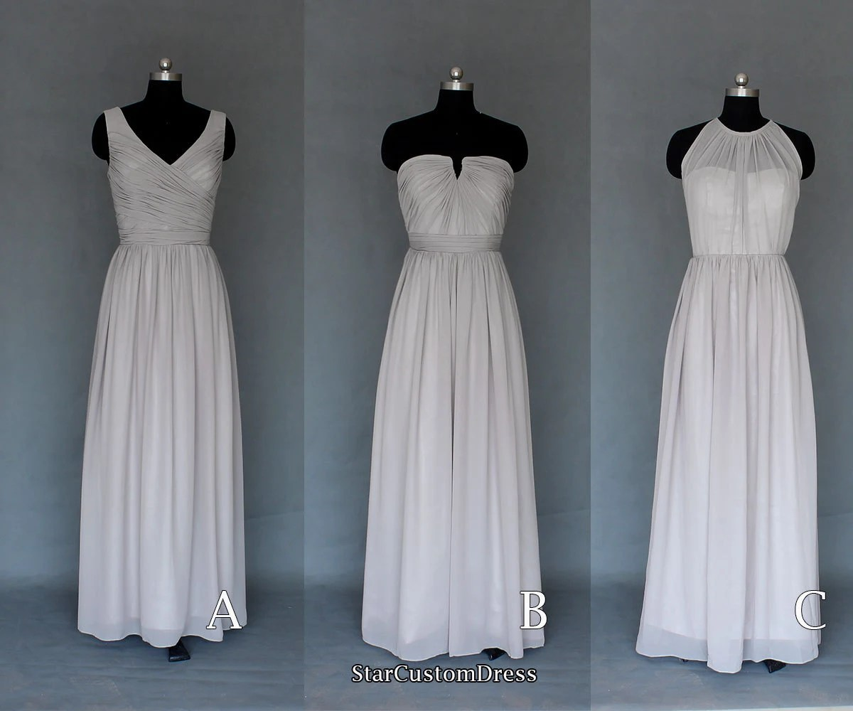Long Silver/Grey Bridesmaid Dress Long Chiffon By