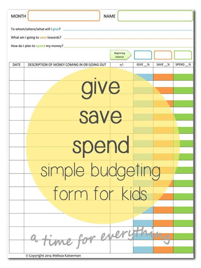 Give Save Spend Budget Sheet Printable For Kids Instant