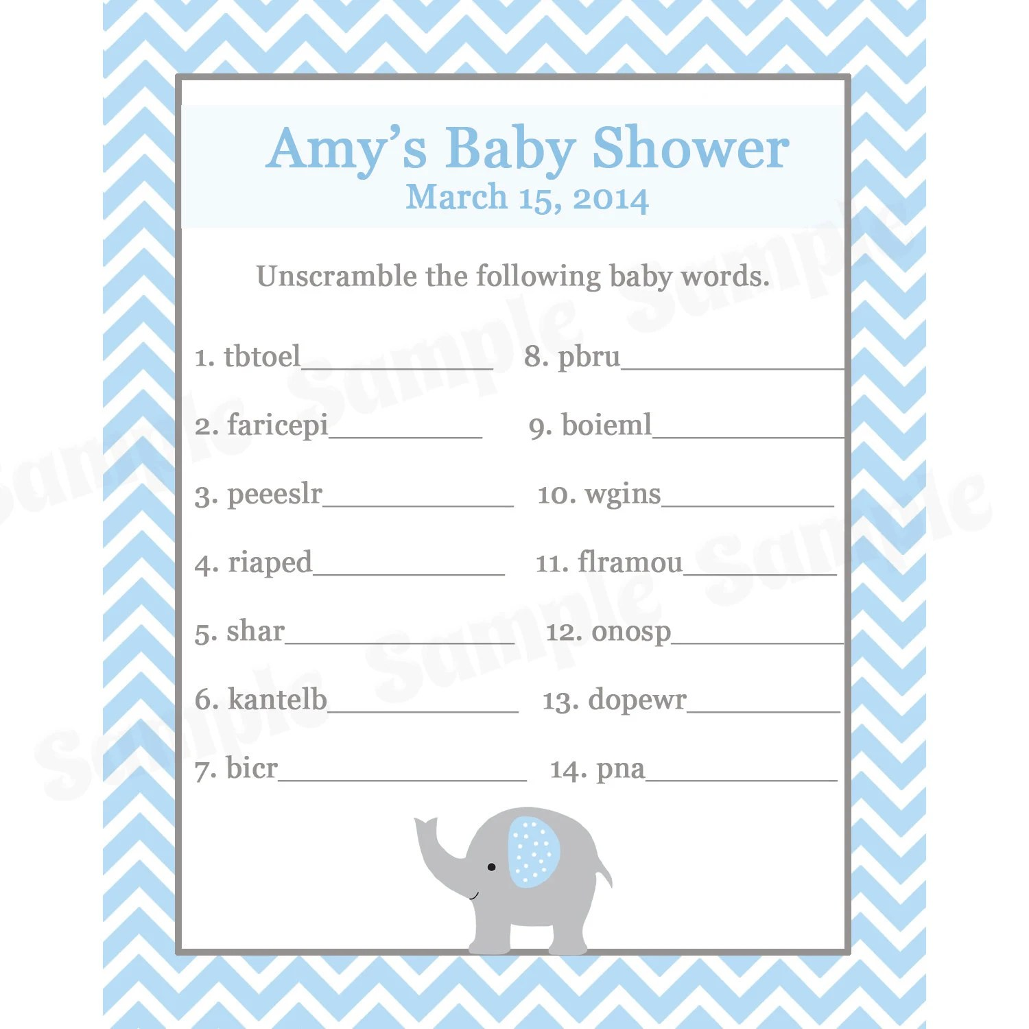 24 Personalized Baby Shower Word Scramble Game Cards Elephant