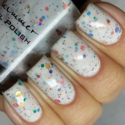 splat white glitter nail polish