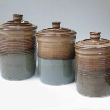 Order Kitchen Set Of 3 Canisters Brown With Blue