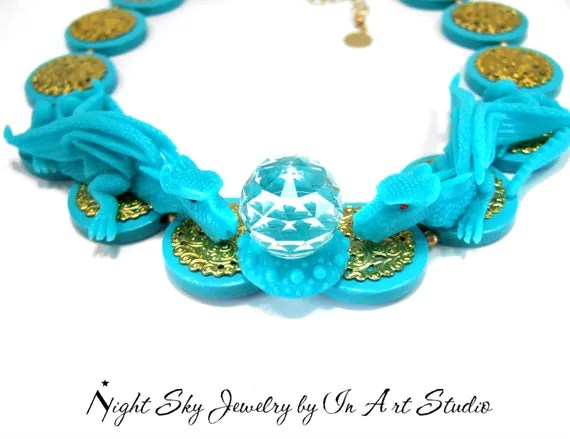 Turquoise Dragon Necklace for Women Fantasy Dragon Jewelry