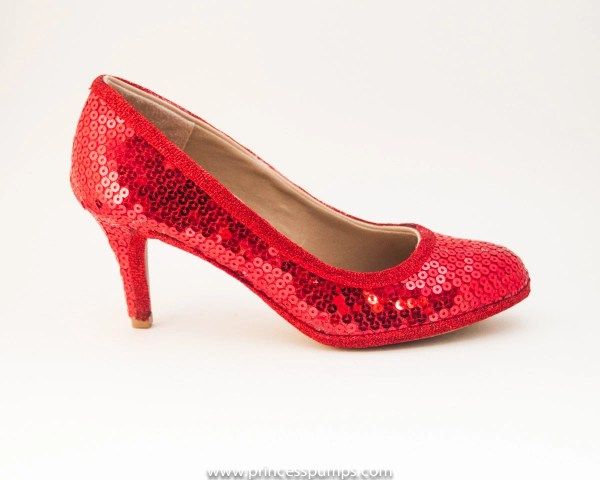 Simple Red Sequin 3 High Heels Shoes Princess Pumps