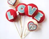 LOVE Hearts Felt Cake Toppers Vase Filler or Wall Hanging Decoration Garland Red Teal Blue - HeyMiemie
