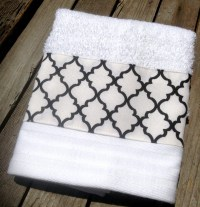 Spa inspired decorative hand towel black and white