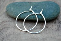 Small thin silver hoop earrings by TiffanyAnneStudios on Etsy