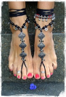 Black Goth Barefoot Sandals Bare Feet Gothic Jewelry Rockstar