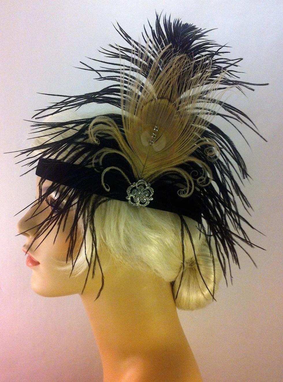 Flapper Headpiece, Great Gatsby Headband, Downton Abbey, 1920s Headband, 1920s Headpiece, Flapper Girl Headband, Black Champagne, Brooch