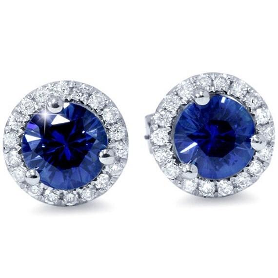 VS 125CT Genuine Blue Sapphire Diamond Halo Studs Earrings