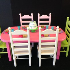 American Girl High Chair Traditional Accent Chairs Doll Table 6 Set Pink And Green