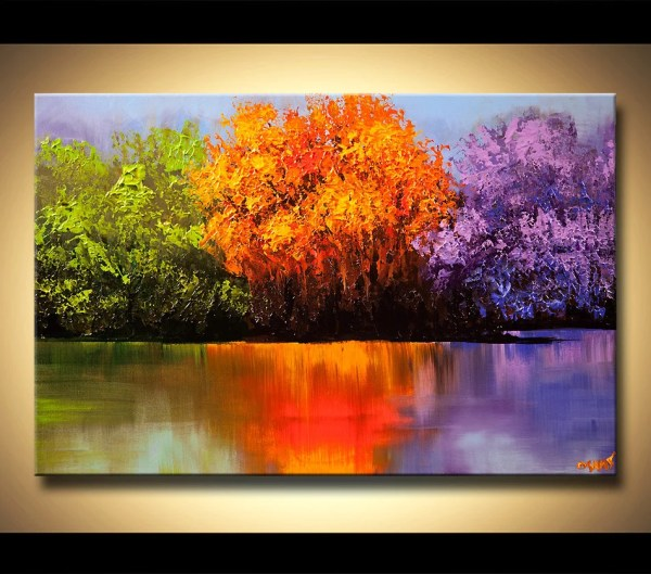 colorful landscape trees canvas