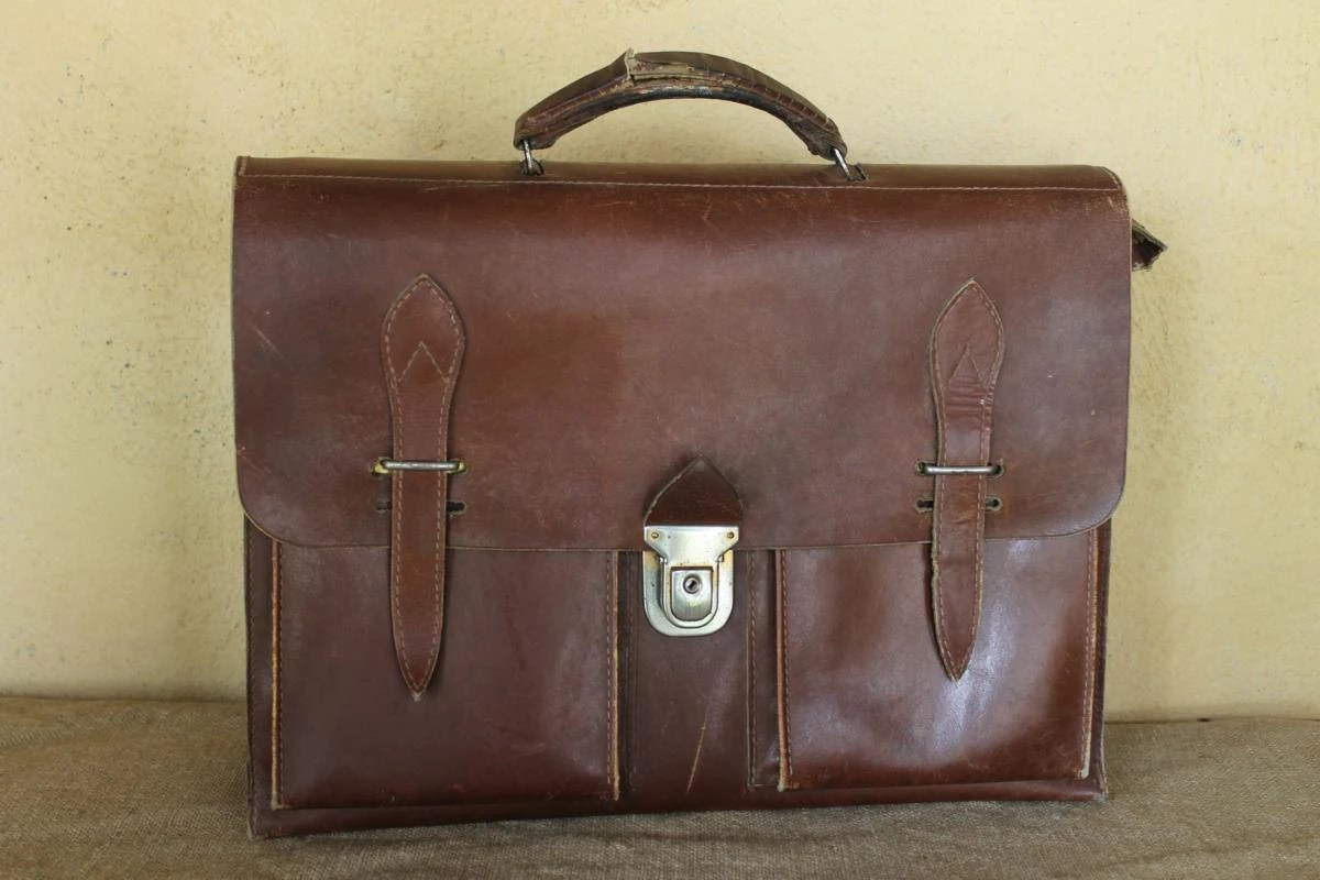 Ancien Cartable Dcolier Cuir Marron Anne 1950