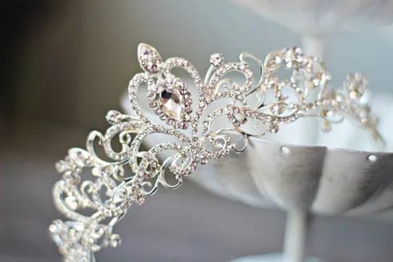 Swarovski Crystal Bridal Tiara FAITH Heart By EdenLuxeBridal
