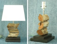Stacked driftwood lamp with dark stained wood base. by ...