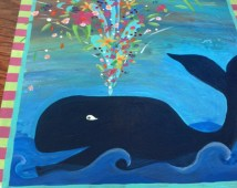 girl whale art, nautical, beachy,whale and flowers, original painting, nursery decor, tween room, play room
