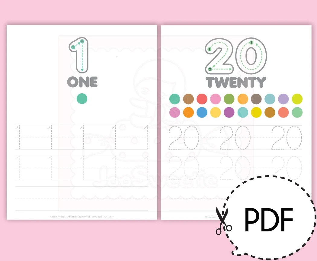 Number 1 20 Writing Practice Sheets Printable Download