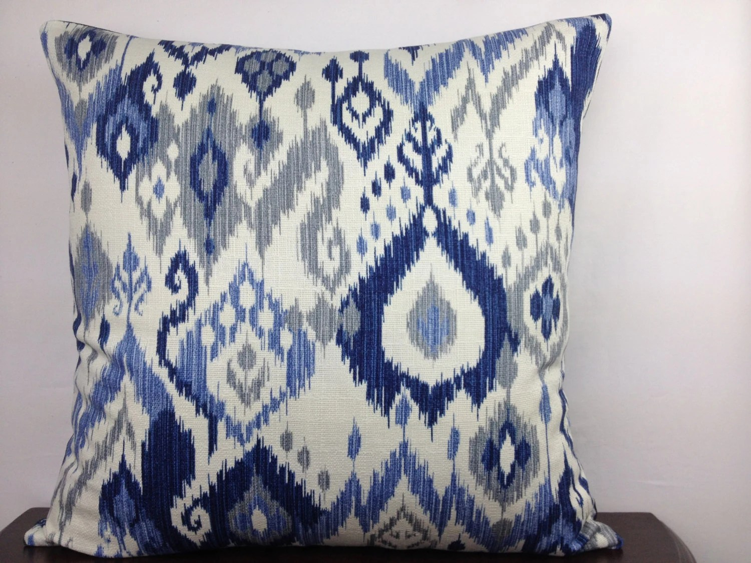Blue Ikat Pillow Cover 20x20 Off White Blue and Gray Ikat