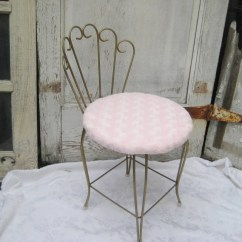 Pink Stool Chair Kimball Fit Vintage Vanity Upholstered