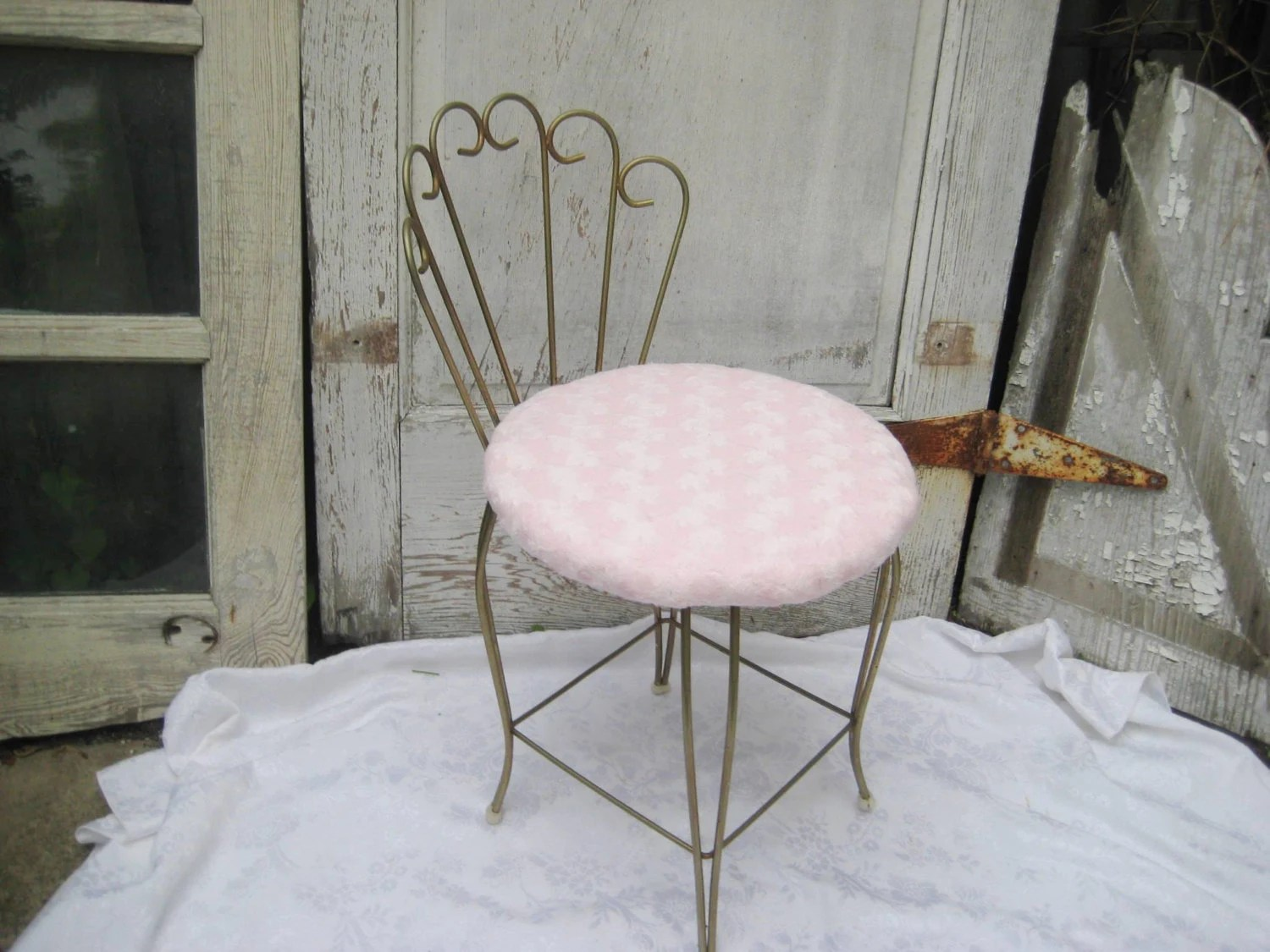 vanity chair white fur dining table and 6 chairs vintage stool pink upholstered
