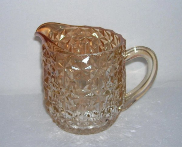 Jeannette Glass Buttons Bows Holiday Iridescent Pitcher