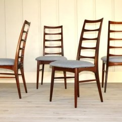 Grey Fabric Oak Dining Chairs Upholstered Toddler Chair Canada Set Of 4 Danish Rosewood Ladder Back By Koefoeds