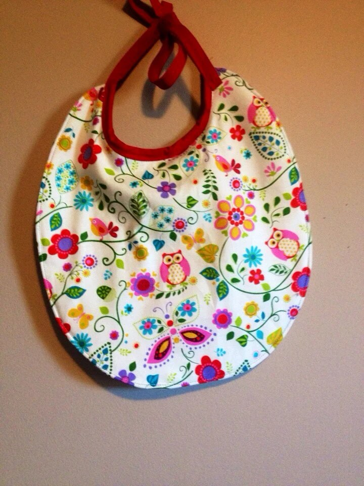 Sweet little owls reversible bib