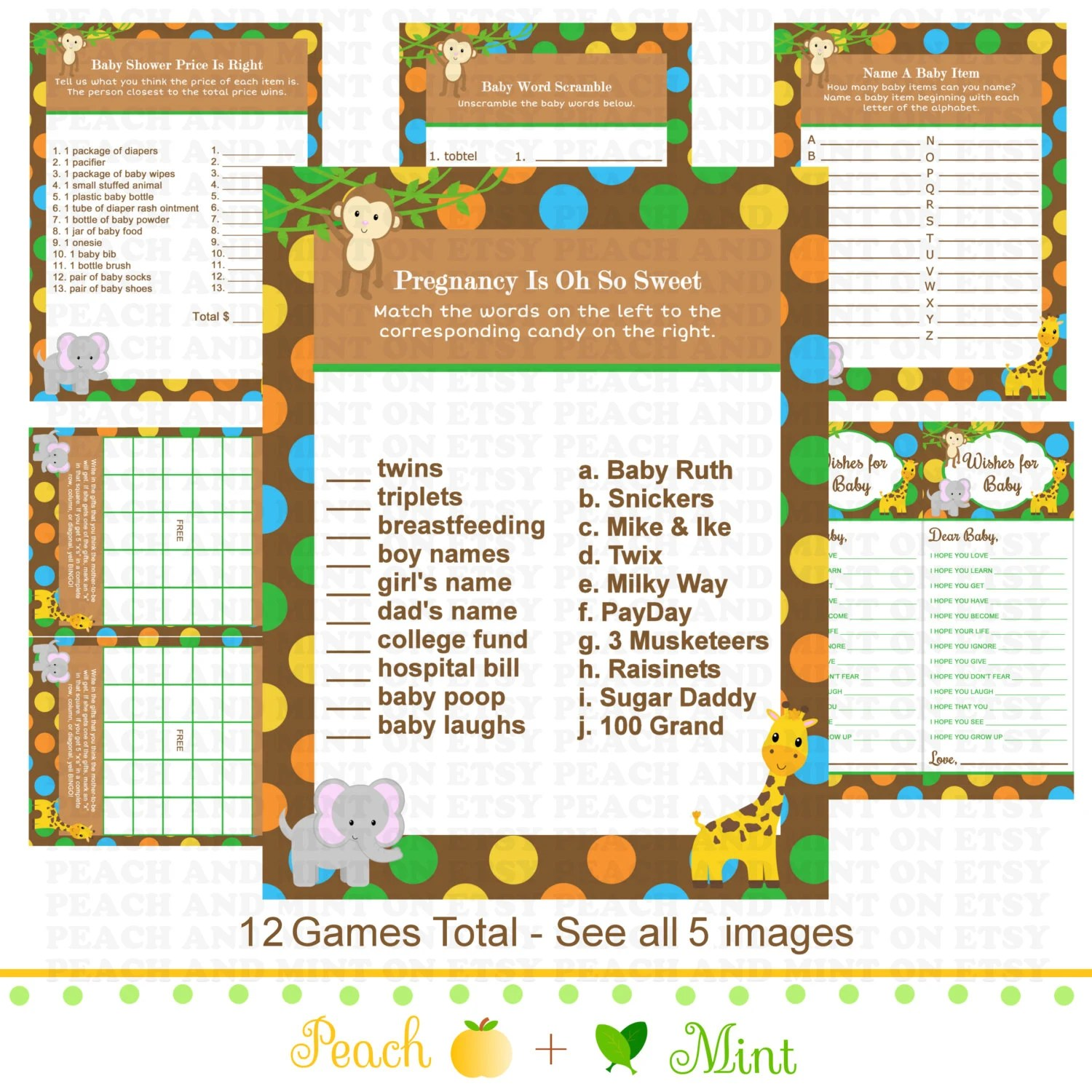 Printable Jungle Baby Shower Games Jungle Animals Baby