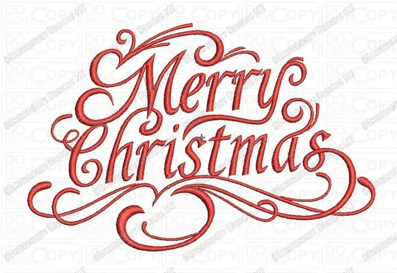 merry christmas fancy script embroidery