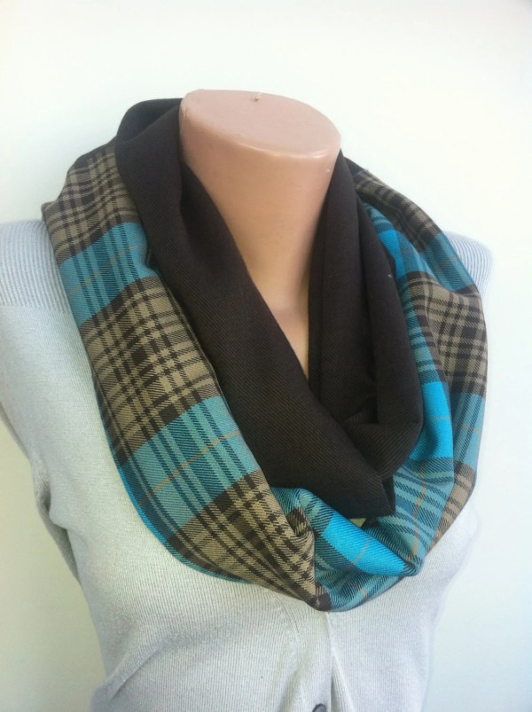 Royal Blue Brown Classic Plaid Infinity Scarf Tweed by