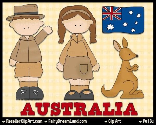 australian kids digital clip art