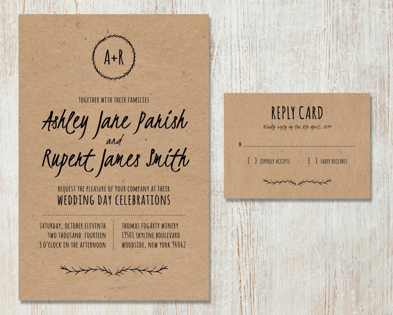 Diy Kraft Paper Wedding Invitations: Rustic Wedding Invitation, DIY Kraft Paper Invitation